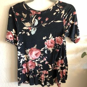 Tops - Navy Floral Peplum Top